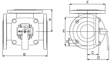 Габаритные размеры смесительных клапанов ESBE 3F