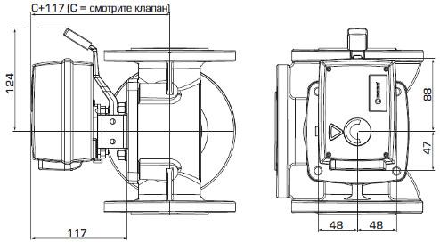 Габаритные размеры приводов ESBE