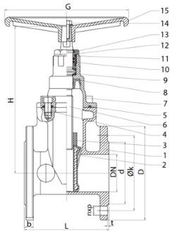 Габаритные размеры задвижек Гранар KR11