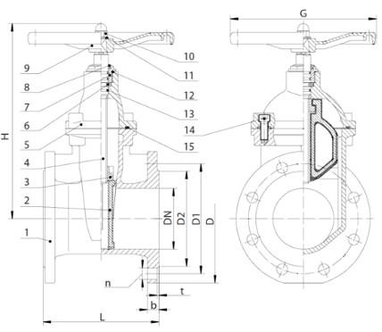 Габаритные размеры задвижек Гранар KR20