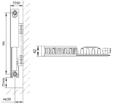 Габаритные размеры стальных панельных радиаторов Axis Ventil 11
