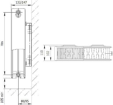 Габаритные размеры стальных панельных радиаторов Axis Ventil 22