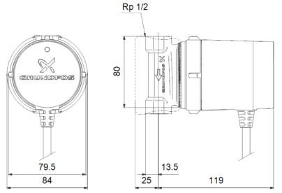 Габаритные размеры Grundfos Comfort 15-14 B PM RU