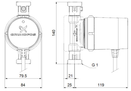 √абаритные размеры Grundfos Comfort 15-14 BX PM