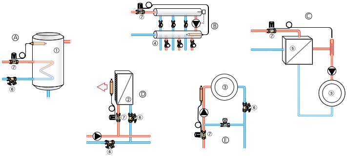 Варианты подключения термостатической головки Heimeier