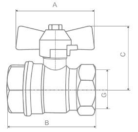 Габаритные размеры 11б27п1 крана шарового латунного муфтового Ру16