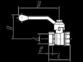 Габаритные размеры 11б27п1 крана шарового латунного муфтового Ру16 Галлоп Стандарт 220