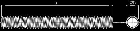 Чертёж шпильки стальной оцинкованной для фланцев