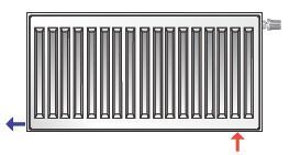 Промежуточное диагональное подсоединение стальных панельных радиаторов Axis
