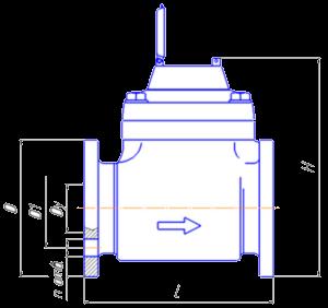 Чертёж турбинного счётчика воды СТВХ