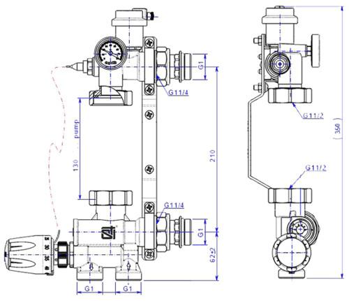 Монтажные размеры насосно-смесительного узла STI E008-3