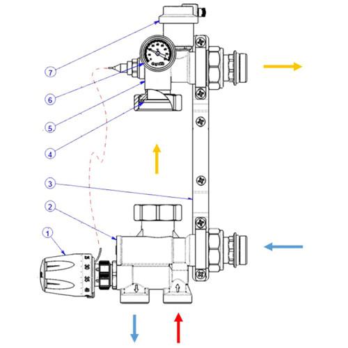 Схема подключения насосно-смесительного узла STI E008-3