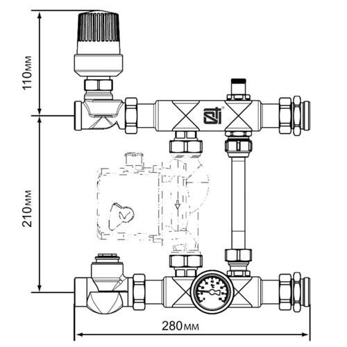 Монтажные размеры насосно-смесительного узла STI E011-1
