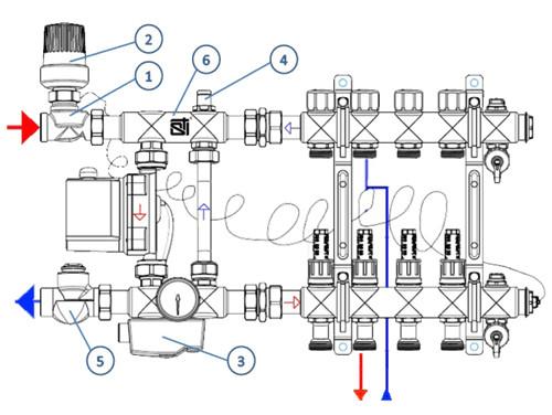 Схема подключения насосно-смесительного узла STI E011-1