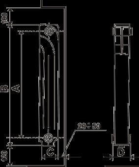 Технические параметры алюминиевого радиатора STI classic 350/80