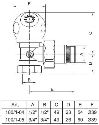 Чертёж углового радиаторного клапана te-sa серии 100/1