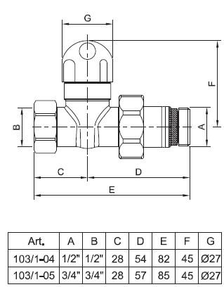 Чертёж прямого радиаторного клапана te-sa серии 103/1