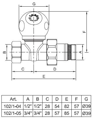 Чертёж прямого радиаторного клапана te-sa серии 100/2