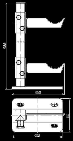 Чертёж напольных кронштейнов для алюминиевых и биметаллических радиаторов