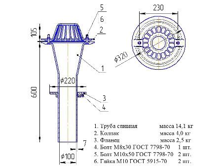 Габаритные размеры чугунной водосточной воронки ВУ-100