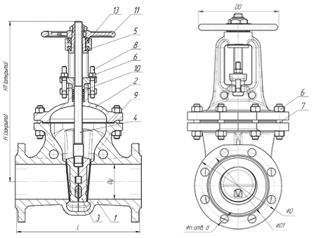 Технические параметры стальной задвижки 30с15нж