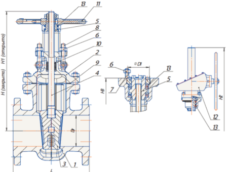Технические параметры стальных задвижек 30с964нж